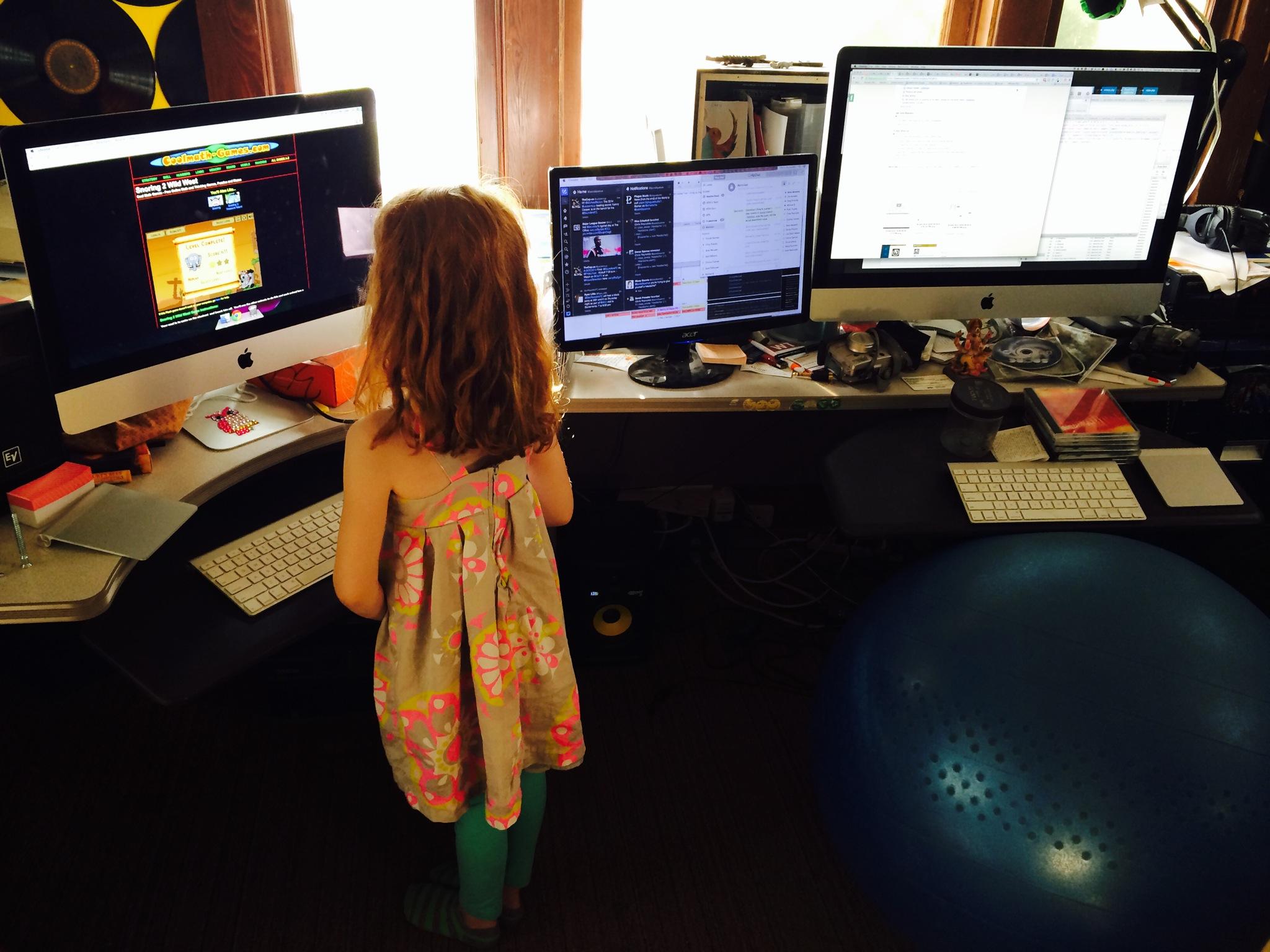 2 workstations, one really big desk